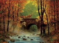 Autumn Bridge and Horses by Chris Cummings