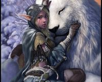 Snow Elf Girl with Lion
