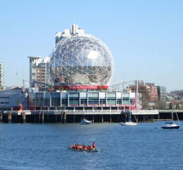 Science World and a dragon boat