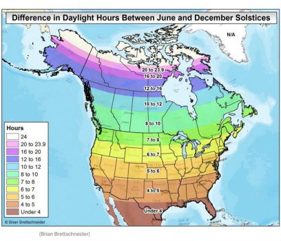 So how much difference in daylight is there between summer and winter?
