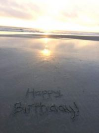Birthday Greeting in the sand