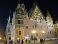 The old town hall in Wroclow, Poland, on a winter's evening.