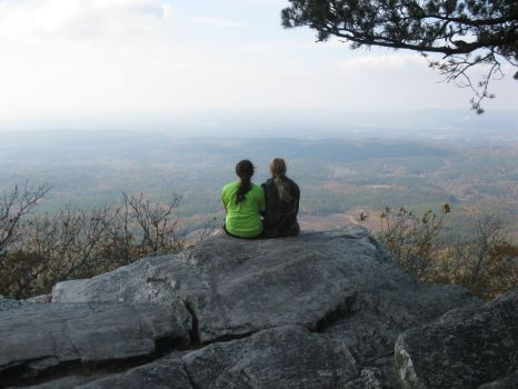 Two friends atop Cheaha Mountain-highest point in Alabama