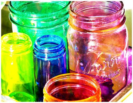 Multi-Colour Glass Canning  Jars