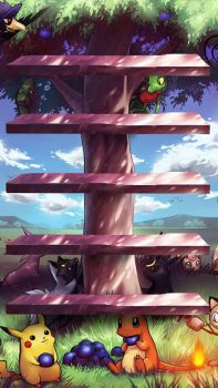 Pokemon Tree Shelves iPhone 5 Wallpaper