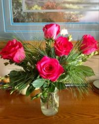 Roses with White Pine
