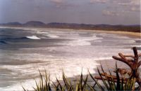 Waves rolling in at Dreamtime Beach south of Fingal Head in northern New South Wales, Australia