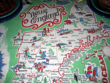 Vintage Tablecloth - See me waving from Rockport?