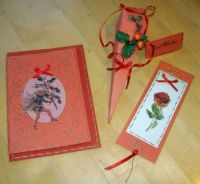 Crafts - Papercraft - Christmas - Flower Fairy Card, Candy Box & Bookmark Set - Red
