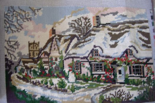 Tapestry Picture - Cottage Winter Scene - Spot the Snowman!