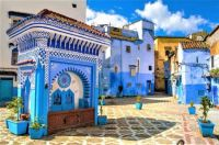 Colorful Chefchaouen Square in Blue Medina, Morocco