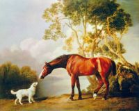 George Stubbs--Bay Horse and White Dog