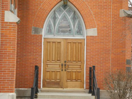 St Paul Lutheran Church Hillboro, IL Door and glass above door