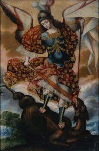 """Saint Michael Archangel"", Unidentified artist, Cuzco, Perú, 18th century."