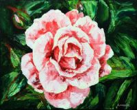 Pink Rose Palette Knife Paintring