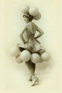 Vintage photo of girl with balloons