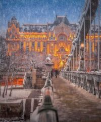 Snow on Chain Bridge Walkway
