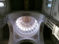 Looking up into the dome of the St. Martin Basillica, Tours, France