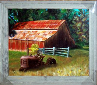 Barn and Tractor - Kaye