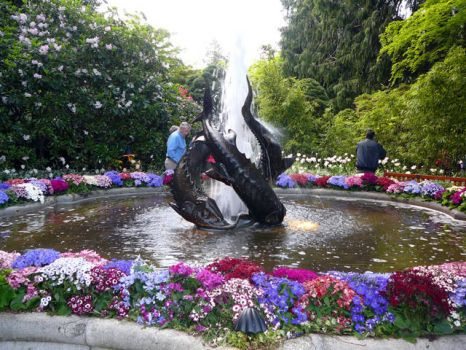 Sturgeon Fountain at The Butchart Gardens