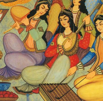 MEHMOONI , A Wall Painting Of Persian Musicians From Hasht - Behesht Palace