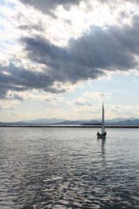 Lone sailboat, lake Champlain