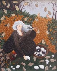 Mushroom Picking / Lucy Almey Bird Art