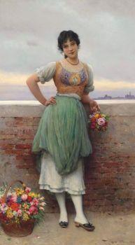 """Eugene de Blaas, """"The Venetian Flower Seller"""""""