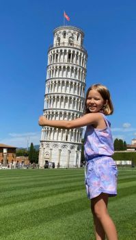 Hugging an Italian Landmark