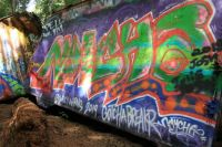 Train wreck graffiti, Whistler, British Columbia