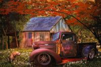 Rusty Old Truck on the Farm in Autumn by Debra and Dave Vanderlaan