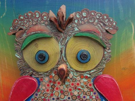 Mixed Media Baby Owl - Silvia Logi, Artist