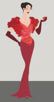 Theme, fashion: lady in red