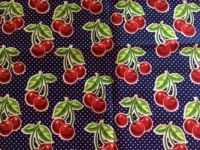 Cherries on Navy Blue Potholders