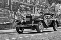 Model A By a Mural