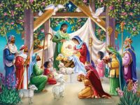 Magi at the Manger by Randy Wollenmann