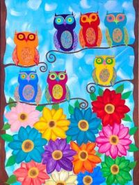 Colorful Owls and Flowers
