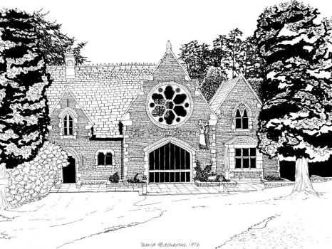 A drawing I did of The Priory Tavern, Cumbria - 1976