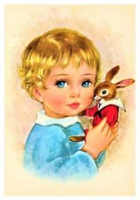 Themes Vintage illustrations/pictures - Child with little bunny