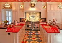 stenciled floor, red lava stone counters, checked ceiling and delft tiled backsplash