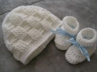 Baby hat and booties  for my friends new grand baby