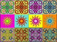 Suns, tiles and colours  :)) IV (Link to supersize puzzle inside)