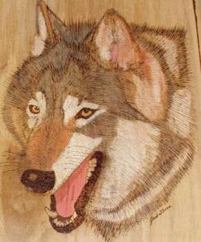 Wolf - some of my woodburning