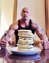 The-Rock-eating-pancakes