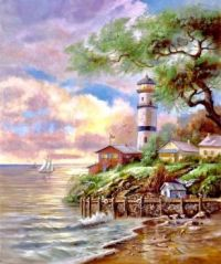 Lighthouse and cottage