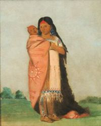 Tsee-moúnt, Great Wonder, Carrying Her Baby in Her Robe, George Catlin