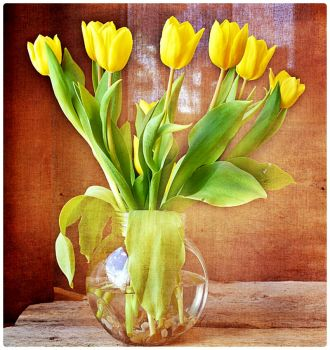 Yellow Tulips in a Round Glass Vase