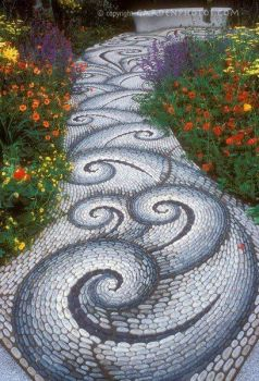 Swirling mosaic garden path