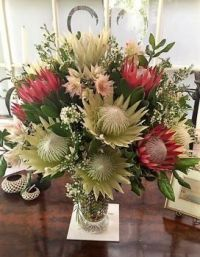 Happiness is....Gorgeous King Proteas and Serruria Display.