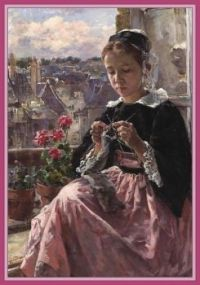 A Young Breton Girl Knitting by the Window